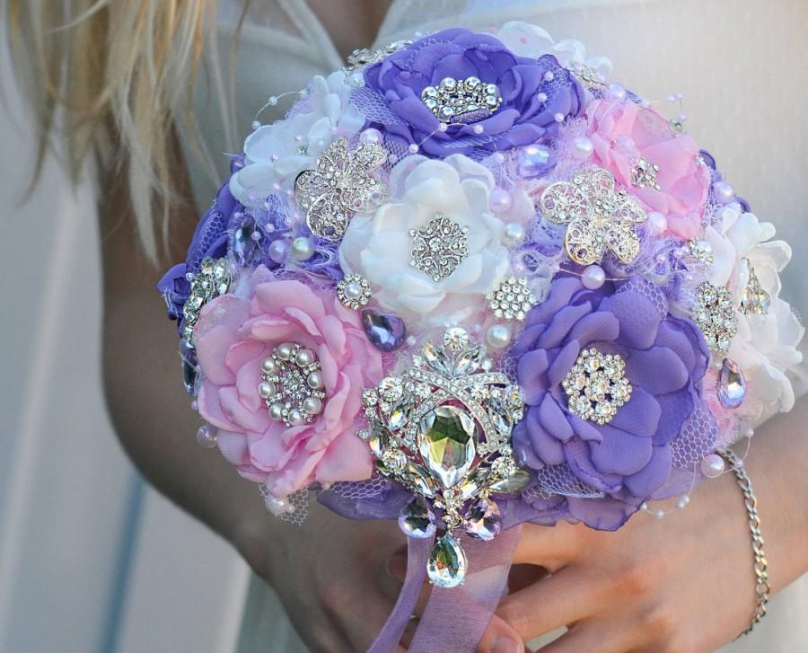 Свадьба - Bridal brooch bouquet, wedding bouquet, fabric flower bouquet, alternative bridal bouquet, pink, lilac, purple bouquet.