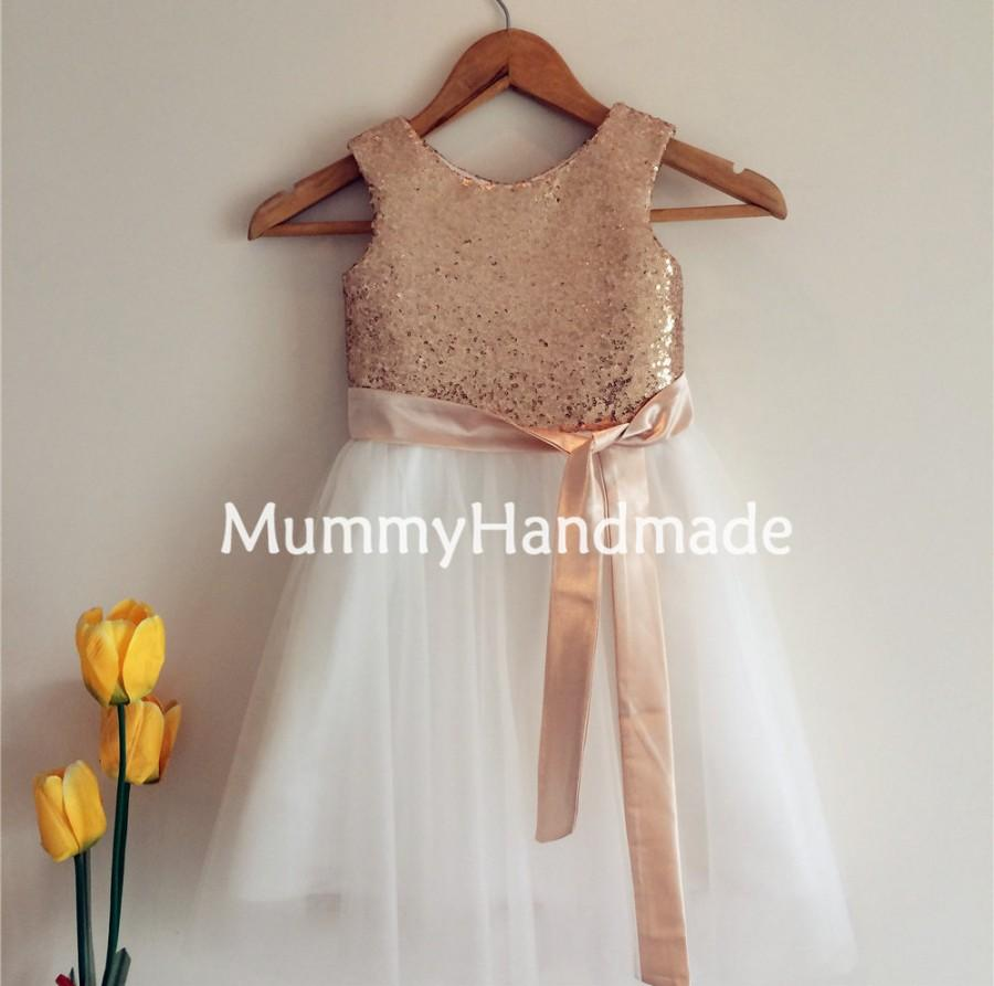 a0180b33 Gold Sequin Sleeveless Ivory Tulle Flower Girl Dress With Sash/Bow ...