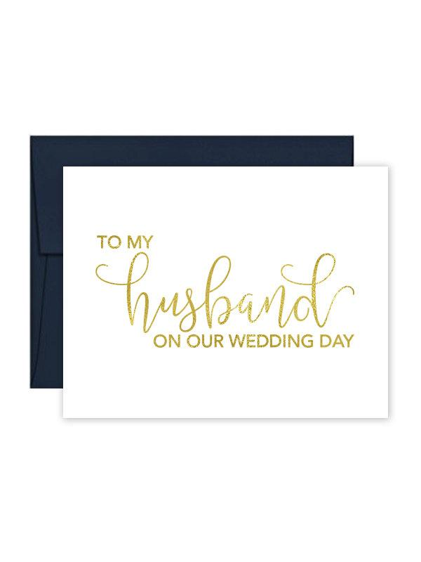 Mariage - To My Husband on our Wedding Day Cards - Wedding Card - Day of Wedding Cards - Wedding Stationery - Husband Wedding Card (CH-TET)