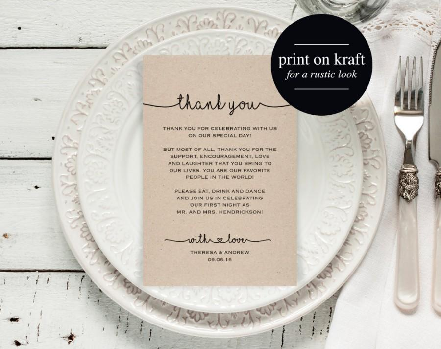 Wedding Thank You Card Thank You Printable Template Wedding Table
