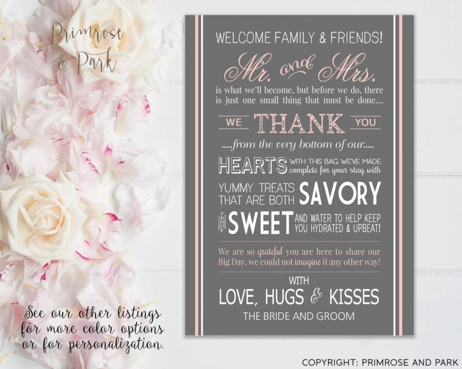 wedding welcome letter for hotel welcome bags welcome note printable digital file instant download