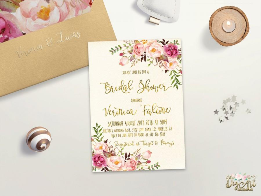 Wedding - Floral Bridal Shower Invitation Printable Boho Bridal Shower Invite Spring Bridal Party Summer Bridal Shower Gold Foil Typography Invite