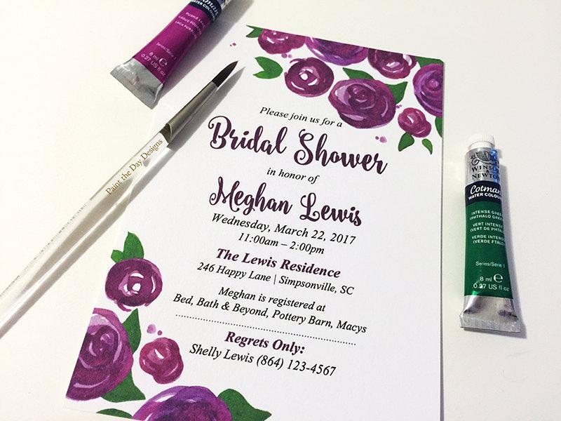 "Mariage - Watercolor Wedding Shower Invitation - Rose Bridal Shower Card (Set of 25) ""Lovely Roses"" Purple Wedding Bridal Shower - Watercolor Wedding"