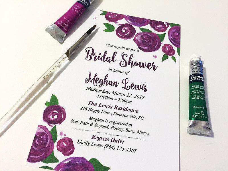 Watercolor Wedding Shower Invitation Rose Bridal Shower Card