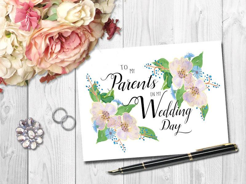 Wedding - Boho Thank You Card for Parents, Wedding Card, Watercolor Floral Thank You Card, Modern Calligraphy, Card for Mom and Dad