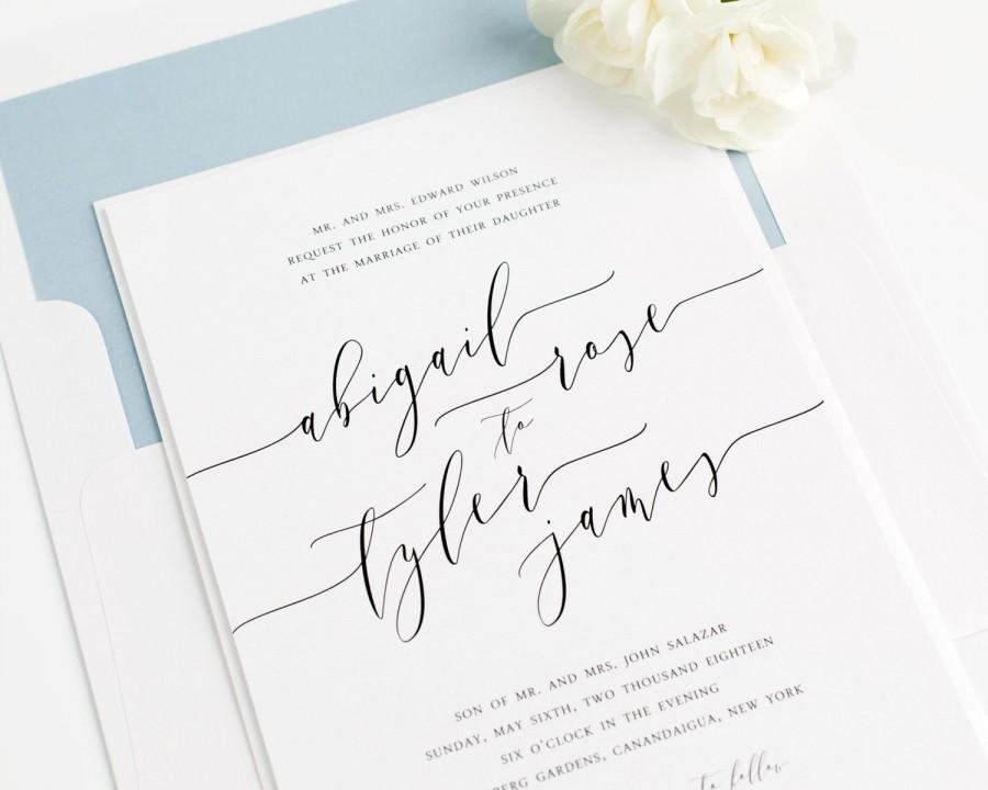 wedding wedding invitation romantic calligraphy invitation dusty