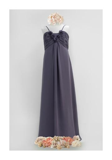 Wedding - Chiffon Flowers Ruched Spaghetti Straps Sleeveless Floor Length