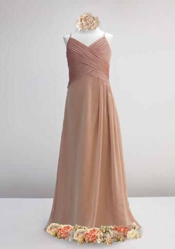 Wedding - Floor Length Sleeveless Ruched Chiffon Spaghetti Straps