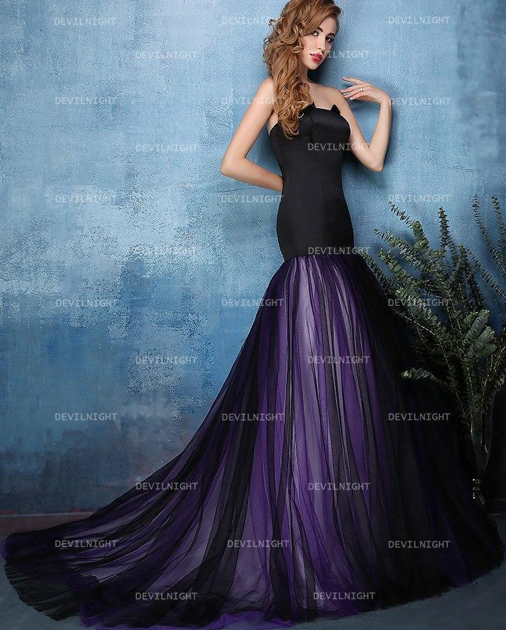 Black And Purple Mermaid Gothic Wedding Dress 2537329 Weddbook