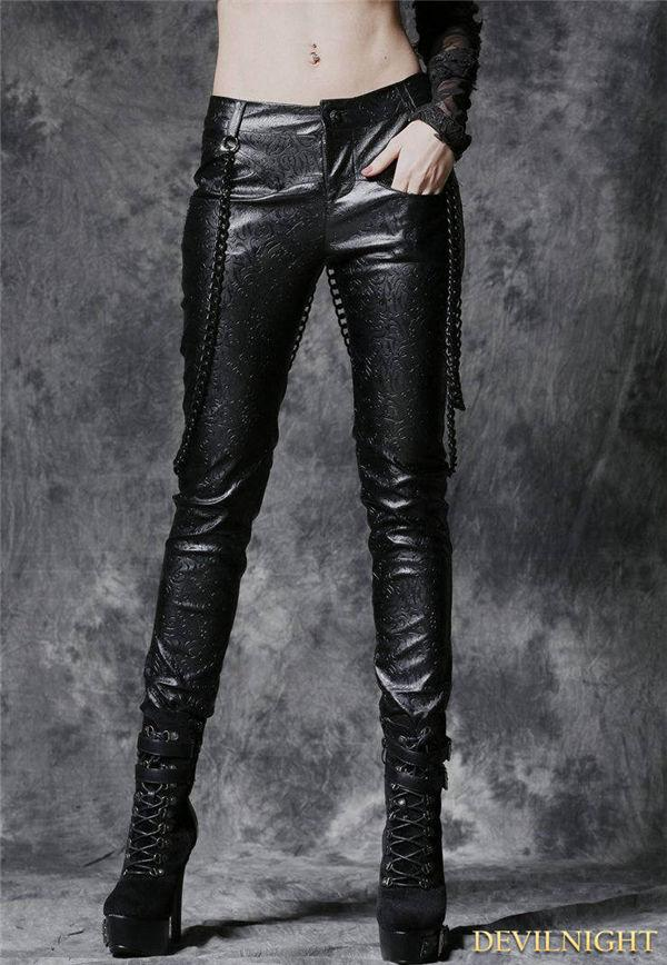 Wedding - Black Gothic Punk Embossed Leather Pants with Detachable Chain