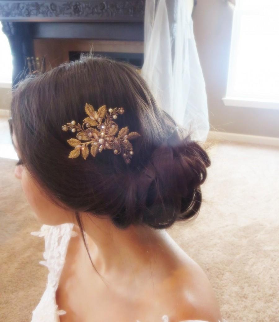 Hochzeit - Antique gold hair comb, Bridal hair comb, Wedding headpiece, Swarovski crystal headpiece, Bridal hair clip, Rhinestone hair comb, Vintage