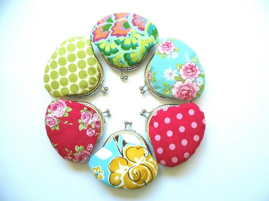 Wedding - Bridesmaid Gift Set - Wedding Gift, Group Gift, Party Gift  - 6 Small Coin Purses