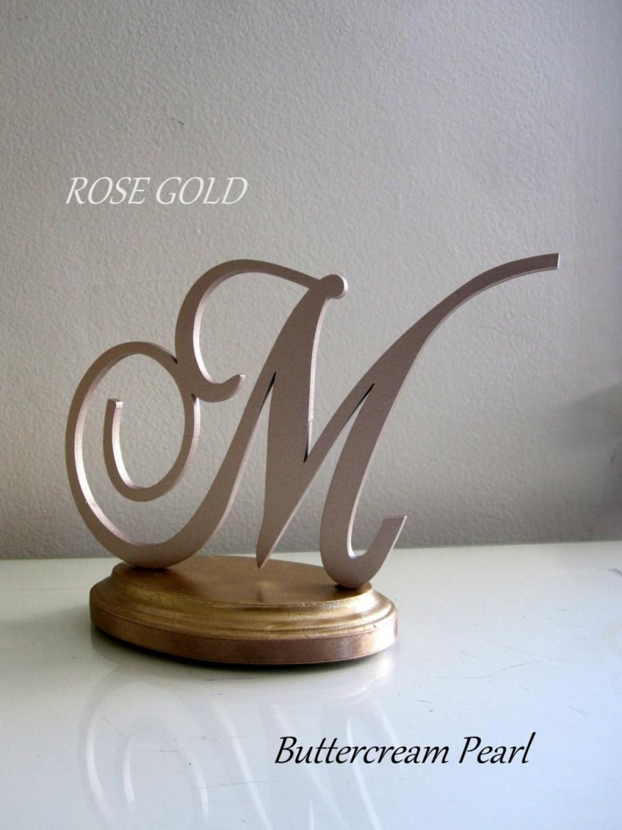 Rose Gold Wedding Cake Topper Custom Any Letter Number Initial Or