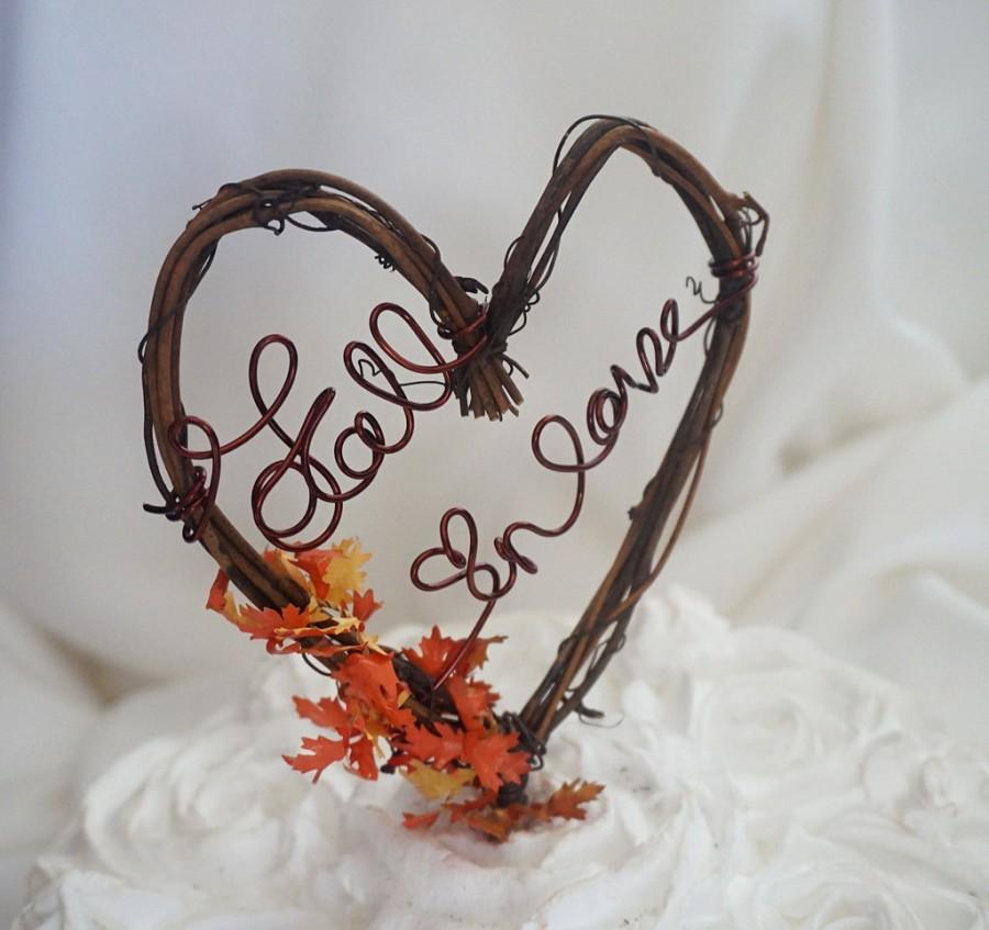 Свадьба - Rustic Vine Cake Topper, Fall In Love Wedding Decor
