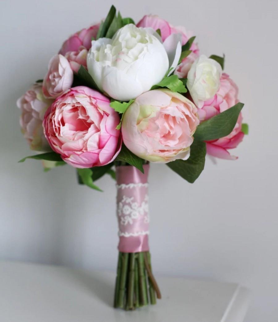 Mariage - Handmade Natural Wedding Peony Bouquet- Bridal Bridesmaid Bouquet, Rustic Wedding, Alternative Bouquet, Keepsake Bouquet