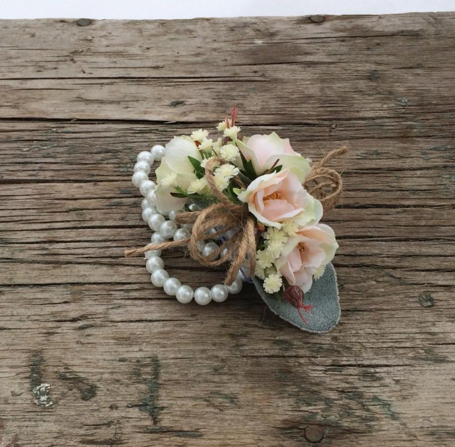 Mariage - Wedding Corsage, Prom Corsage, Peach Rose, Lambs Ear, Baby Breath, Pearl Corsage Wristlet, Silk Flowers by Holly's Wedding Flowers.