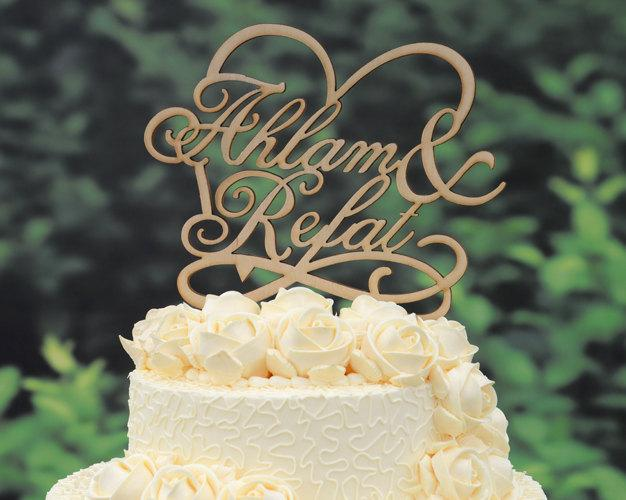 Hochzeit - Rustic Wedding Cake Topper Linden Wood Cake Topper  Personalized Design with YOUR First Names 030