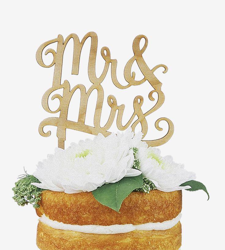 Свадьба - Mr. & Mrs. Wood Cake Topper