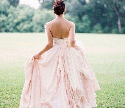 Pink Chiffon Bridal Dress