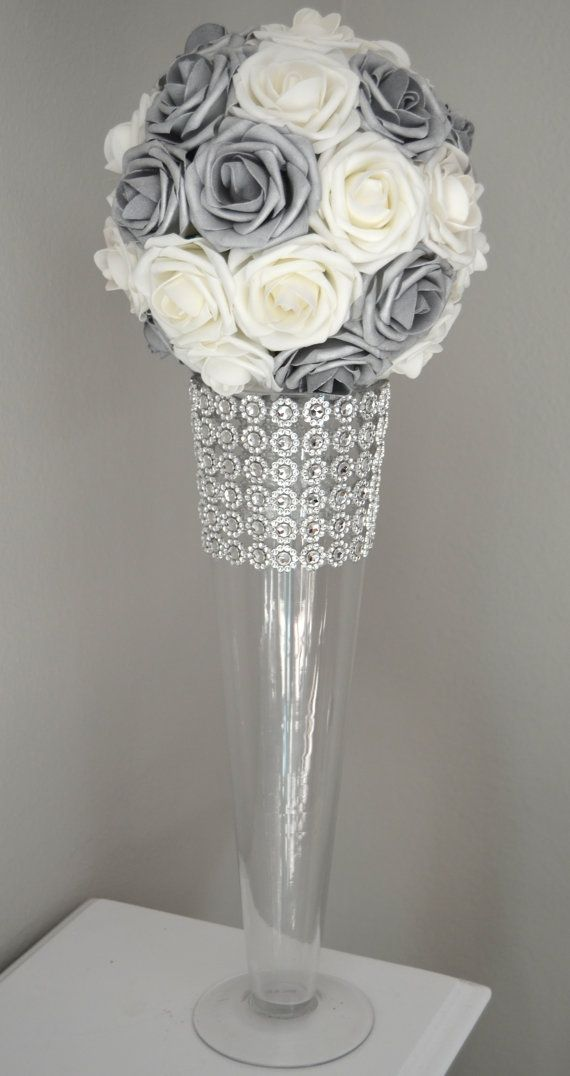Silver and white flower ball wedding centerpiece kissing