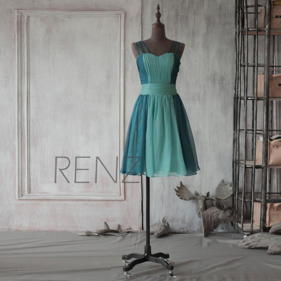 2016 Teal Bridesmaid Dress, Contrast Color Wedding Dress, A Line ...