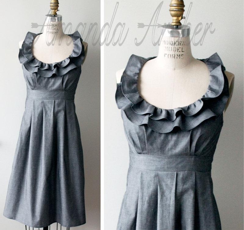 Hochzeit - Grey Dress, Bridesmaid, Made to Order, cotton with pockets