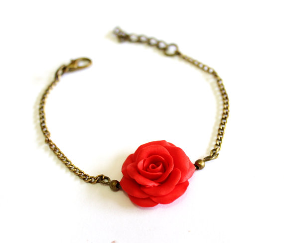 Hochzeit - Red Rose Bracelet, Rose Bracelet, Red Bridesmaid Jewelry, Red Rose Jewelry, Summer Jewelry