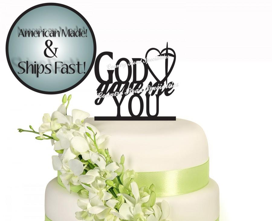 Свадьба - Silhouette God Gave Me You With Heart and Cross Wedding Cake Topper