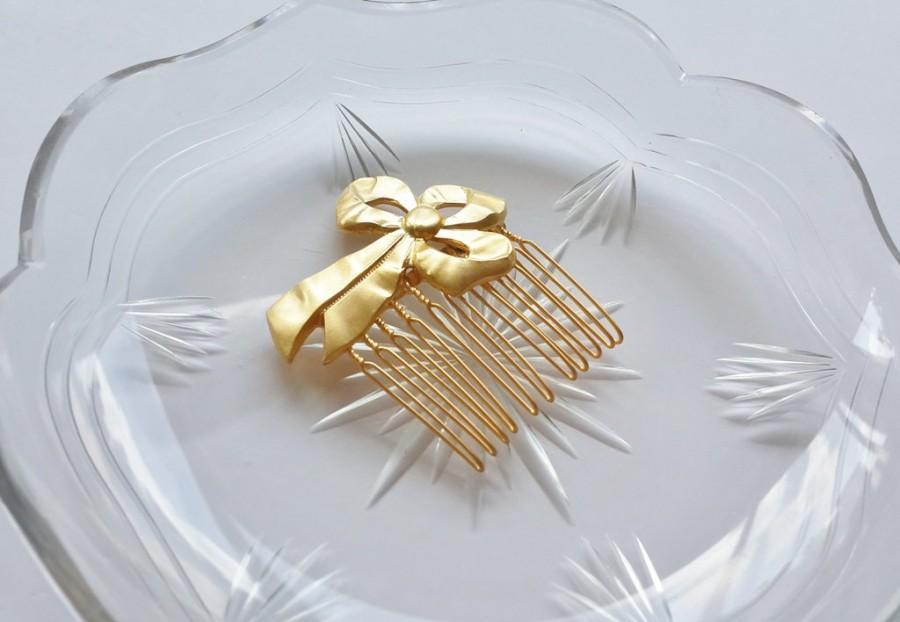 Свадьба - Gold Hair Comb - Bow Hair Comb - Bridal Hair comb - Wedding Hair Jewelry - Gold Hair Accessories - Bridal hair pin - Bow head piece - hairdo
