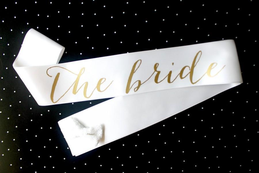 Mariage - White and Gold Bachelorette Sash - Custom Lettered Sash - Bridal Sash