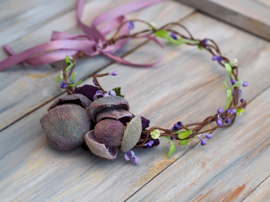 Hochzeit - Purple Wedding Headband, Wedding Head Wreath, Purple Flower Crown, Purple Bridal Headpiece, Purple Floral Crown, Purple Flower Halo
