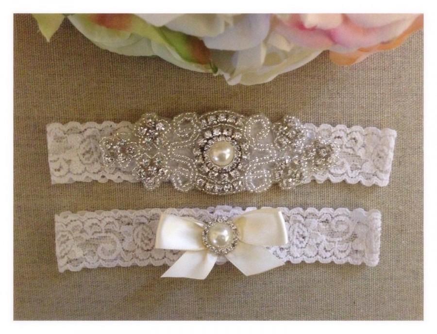 Свадьба - Wedding Garter - Bridal Garter - Crystal Rhinestone and Pearl Garter and Toss Garter Set