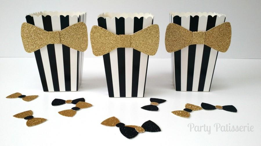 Mariage - Black and White Popcorn Boxes with bow-tie, set of 10 wedding, Oscars, black tie, birthday