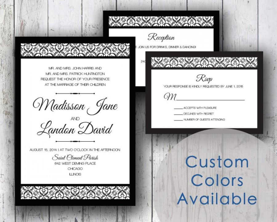 printable wedding invitations traditional wedding black white