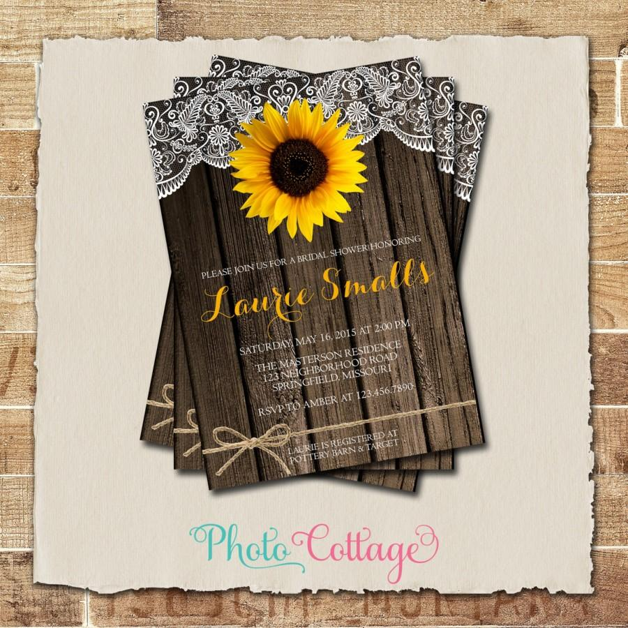 Sunflower bridal shower invitation rustic wood and lace invitation sunflower bridal shower invitation rustic wood and lace invitation sunflower invitations bridal shower invites country invitation bs149 filmwisefo