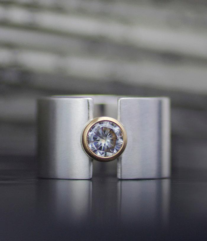 wedding band wide moissanite lunar eclipse wide band alternative engagement modern wedding ring sterling silver recycled conflict free - Wide Band Wedding Rings