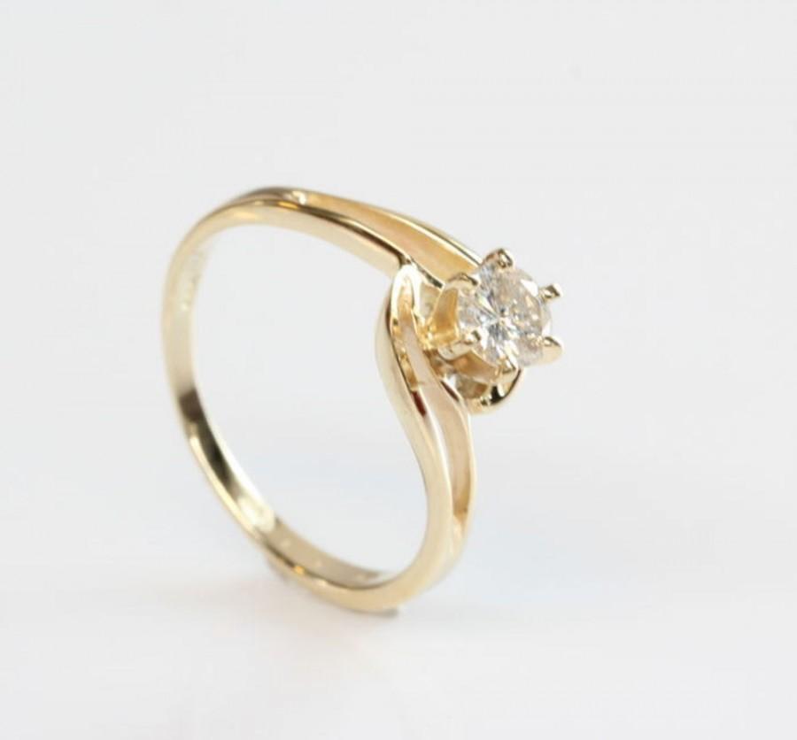 Mariage - Diamond Engagement Ring, Solitaire 14K Yellow Gold Ring, 0.30 Carat Women Jewelry, Size 6.5 handmade jewelry