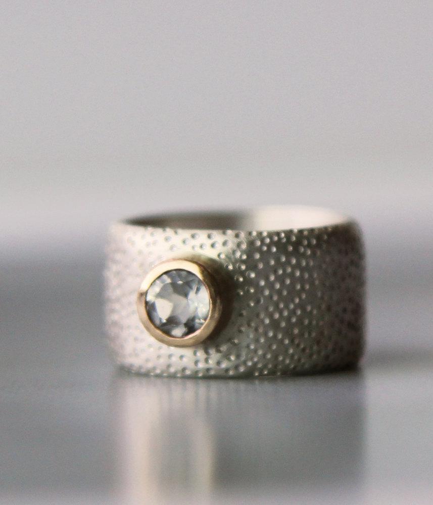 زفاف - Engagement ring - unique wide wedding band - alternative gold and white topaz sterling silver ring - hers, his, equality