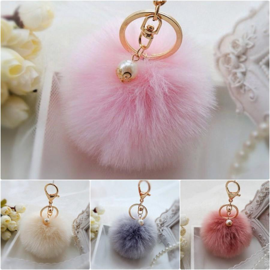 Nozze - Pink Fashion Pom Pom Keychain Handbag, Pom Pom Ball Keychain, Fluffy Imitation Rabbit Fur Pom Pom Ball, Fluffy Pom Pom