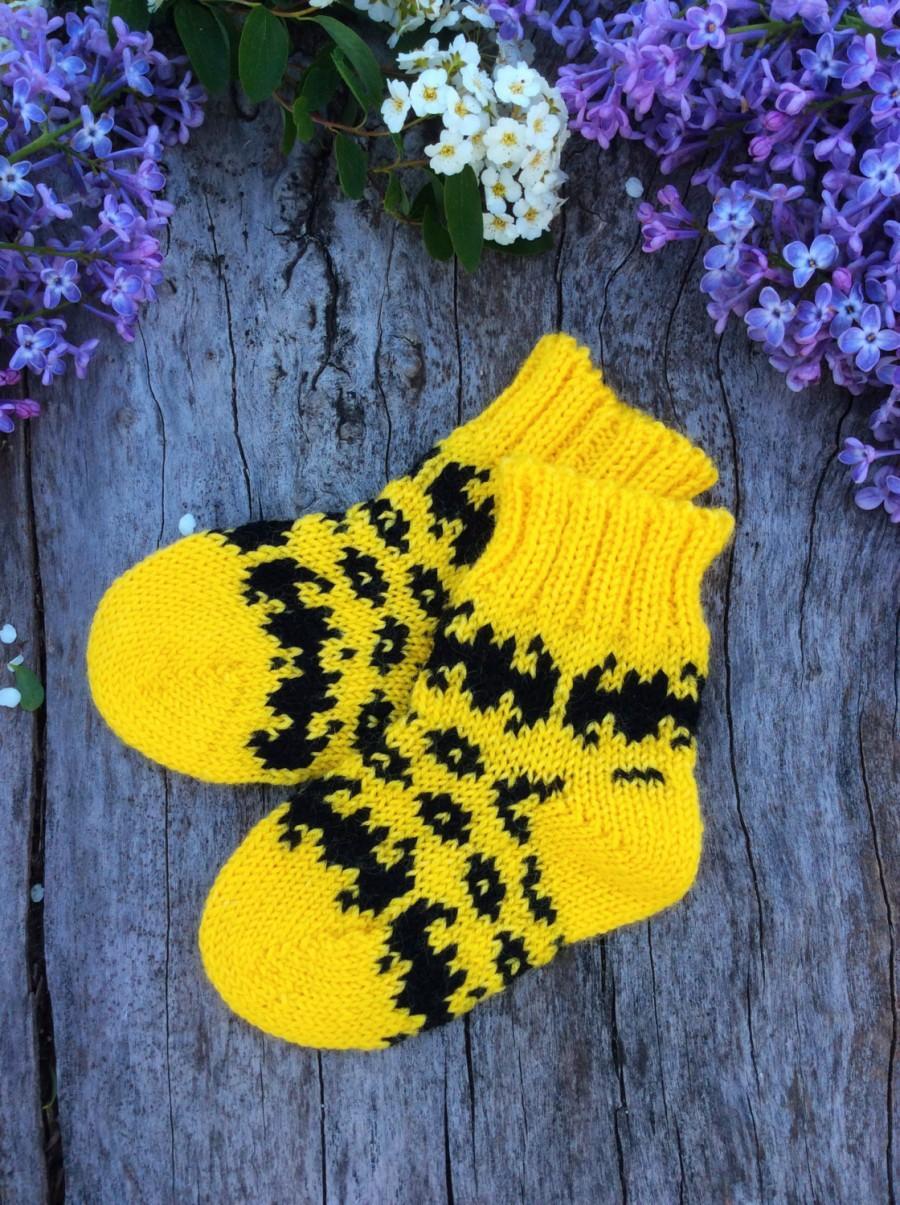 Baby Wool Socks Knitted Yellow Children Knit Socks Winter Toddler