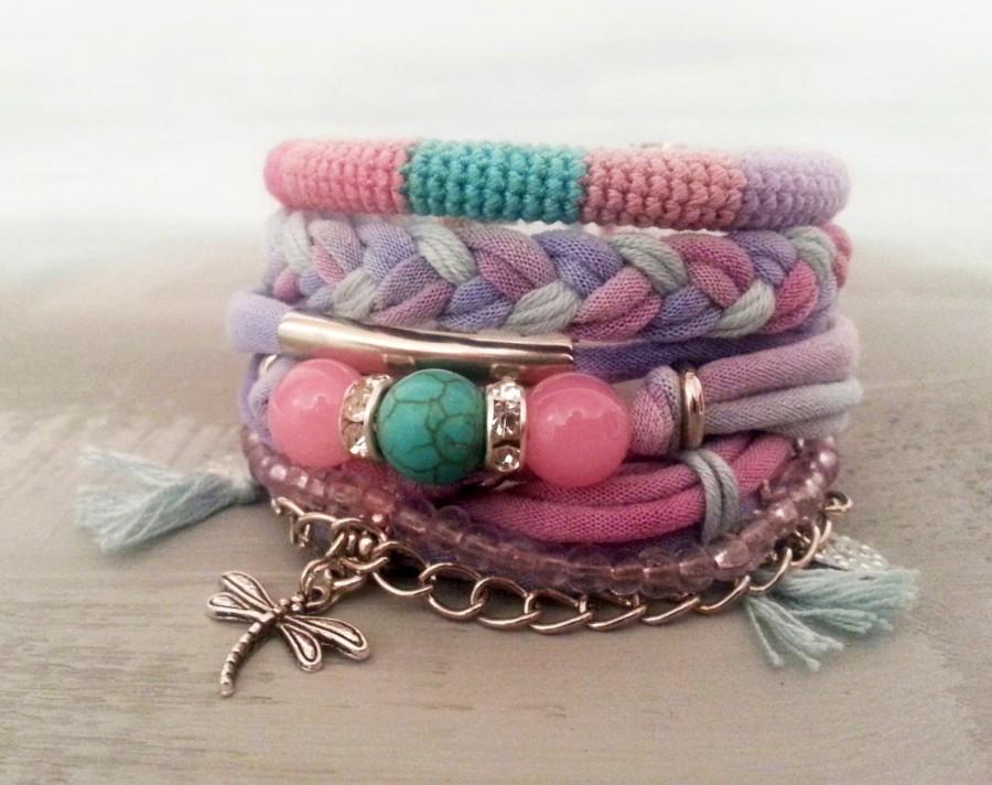 Hochzeit - Layering Bracelets Pink and Turquoise, Gypsy Bracelet Set Bohemian Style, Hippie Jewelry, T-shirt Yarn Bracelet Dragonfly Charm