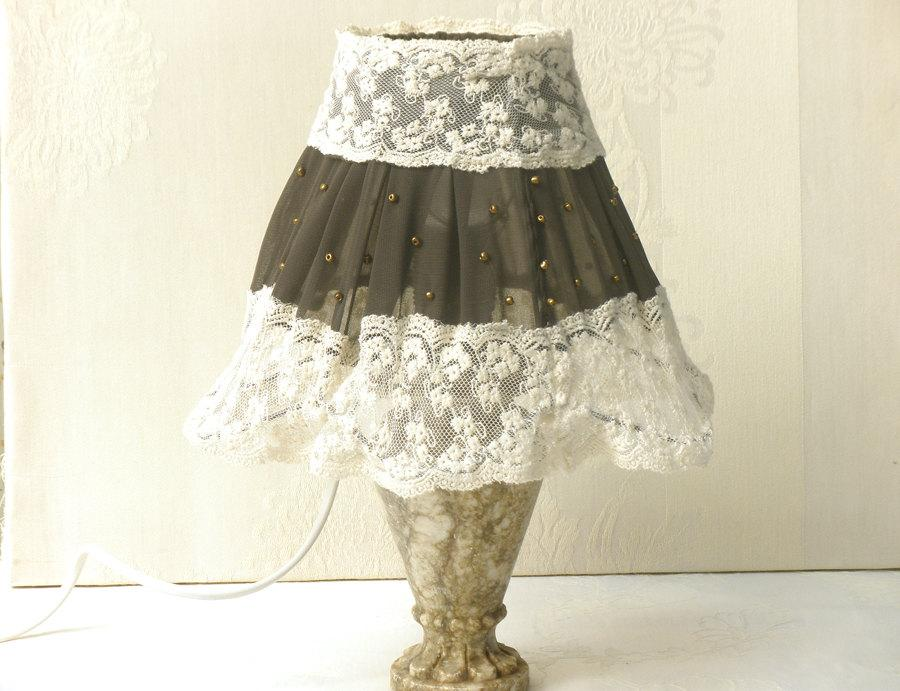 Shabby Chic Lamp Fabric Lace Lampshade Antique Home Decor