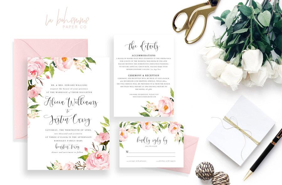 Mariage - Printable Wedding Invitation Suite / Wedding Invite Set - The In Bloom Suite