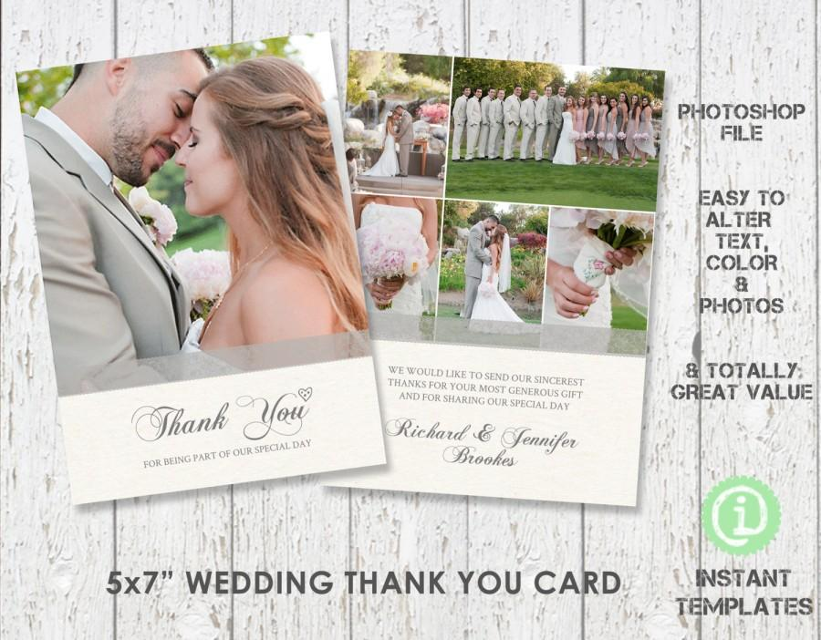 "Mariage - Wedding Card Template Thank You Card 5""x 7"" Photoshop Template - C1W002"