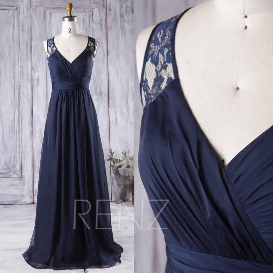2016 navy blue bridesmaid dress long v neck wedding dress for Navy blue dresses for weddings