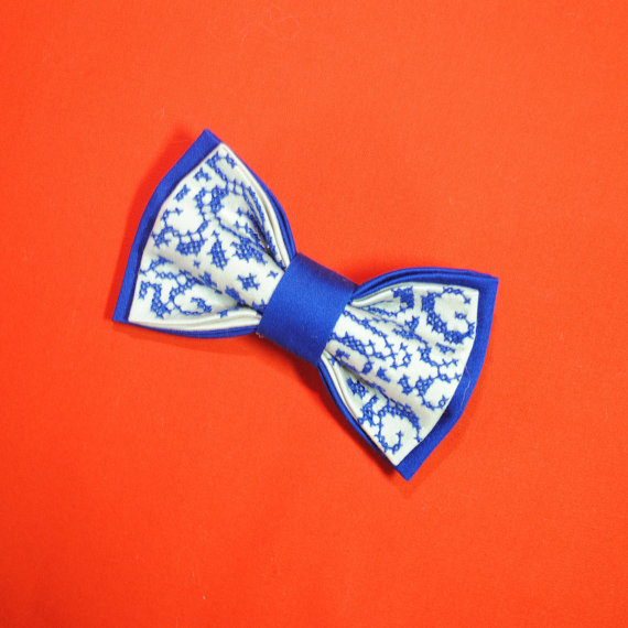 Wedding - Embroidered Electric blue bow tie Well to coordinate with stuff in Sapphire Arctic colors Winter wedding Men's bowties Boys Wedding bow tie