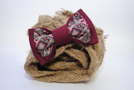 Wedding - Mens bow tie Embroidered vinous bowtie Groomsman bowtie Burgundy marsala Men's bow tie Vezene vinski kravata Ricamato papillon vinoso