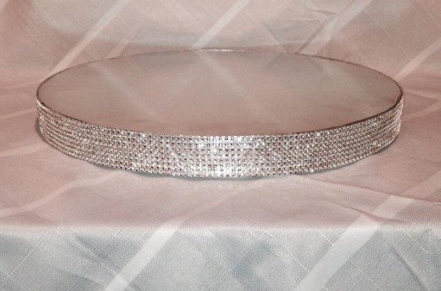 زفاف - Bling Cake Stand - 14 Inch Round - Silver Diamond Wrap