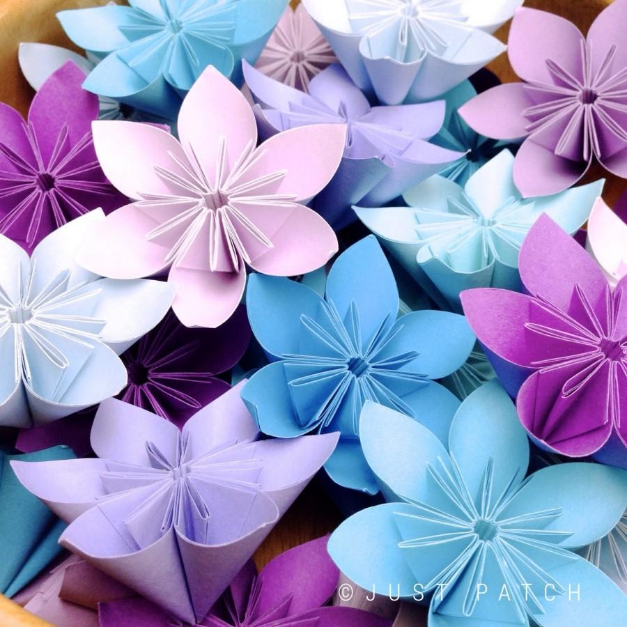 Purple And Blue Theme Origami Flowers 20pcs 2537813 Weddbook