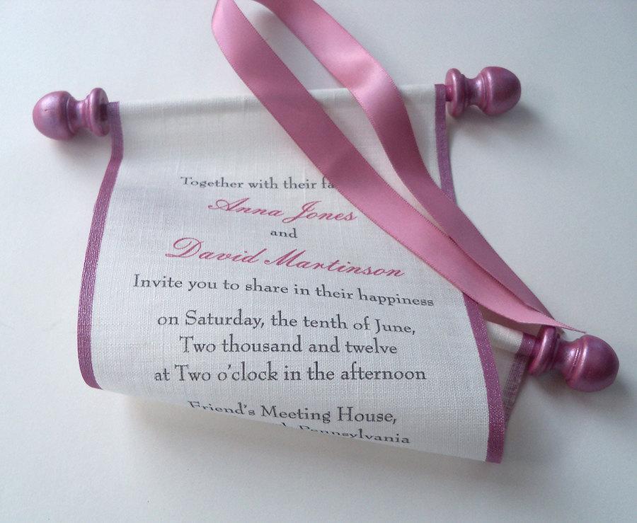 Hochzeit - Minimal wedding invitation, scroll invitation, wedding invitation scrolls, pink and cream linen fabric, set of 10